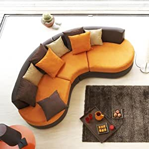 cotedeco canape demi lune cheyenne couleur orange. Black Bedroom Furniture Sets. Home Design Ideas