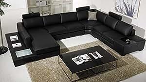 Canapé d'angle cuir design panoramique - Fritsch - avec lumière-Angle Droit