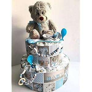 Windeltorte Teddybär Blau Handmade by Sinchns Bastelzauber
