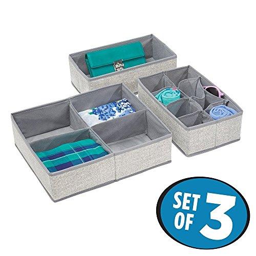 mDesign 3er-Set Aufbewahrungsbox für Schrank oder Schublade – die idealer Organizer für Socken und Unterwäsche – flexibel verwendbare Stoffkiste mit mehreren Fächern – grau