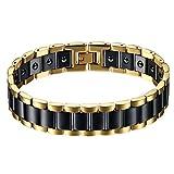 JewelryWe Schmuck Herren Magnet Armband, Edelstahl Keramik, Fashion I Rechteck Link Magnetarmband Armreif, Gold Schwarz
