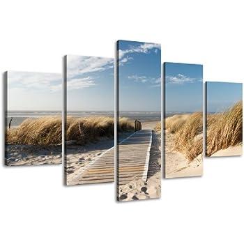visario leinwandbilder 5517 bilder auf leinwand 160 x 80 cm ostsee nordsee 5 teilig. Black Bedroom Furniture Sets. Home Design Ideas