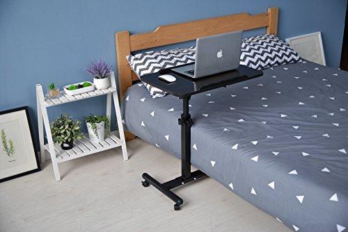 qwork Mobile Laptop Schreibtisch Warenkorb Höhe und Angel verstellbar 360° drehbar und 180° neigbar spliting Laptop Stand Tisch (schwarz walnuss) (Warenkorb Laptop-schreibtisch)