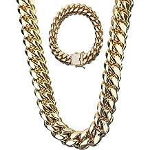 28a10a0fa493 SMACO Hip Hop Rock para Hombre Cadena de Bloqueo de Cadena Cubana de Oro 18  K