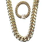 SMACO Hip Hop Rock para Hombre Cadena de Bloqueo de Cadena Cubana de Oro 18 K Diamante de Acero Titanium de Acero Inoxidable + Juego de Pulsera Joyería,24INCH