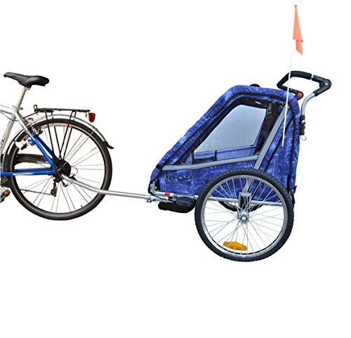 Papilioshop Leon Radanhänger für 1oder 2Kinder, Vorderrad drehbar, Kinderanhänger für das Fahrrad, klappbarer Anhänger mit Türöffnung, New Jeans - 3