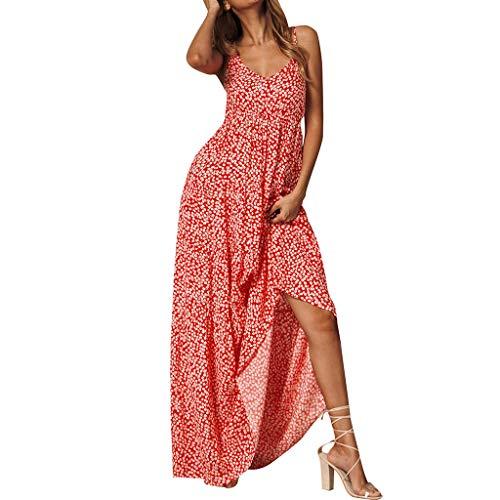 HCFKJ Robe Ete Femme, Boho Femmes D'éTé Vacances Floral Maxi Kaftan Robe V-Cou Longue Plage Soleil Robes(Rouge, S)