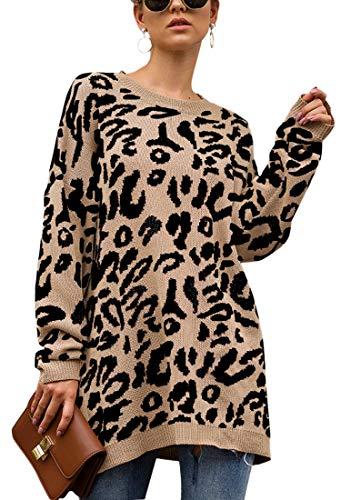 Spec4Y Damen Pullover Lang Oversized Strickpullover Leopard Langarm Rundhals Pulli Casual Lose Sweatshirt Herbst Winter Khaki L (Langen Frauen Pullover ärmeln Stricken)