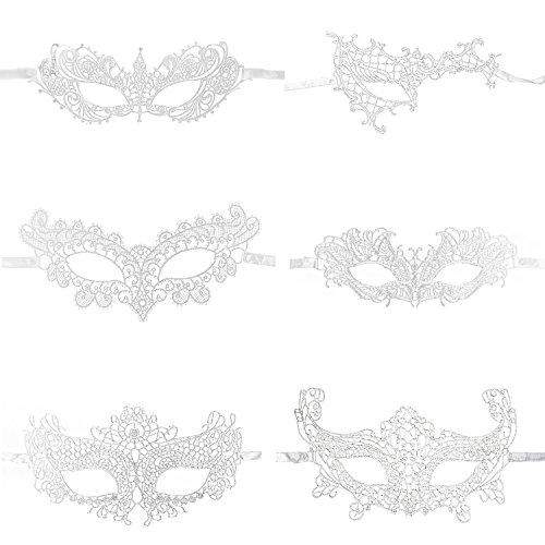 Keriber 6 Pezzi Maskerade Maske Venezianische Gesichts Augen Maske für Frauen mit Kristallen Halbaugen Maske per Halloween, (Maskerade Weiße Spitze Masken)