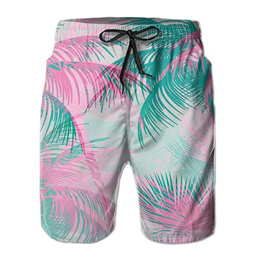 jiger Mens Beach Shorts Swim Trunks,Beach Party Theme Vibrant Composition with Pink and Green Trees Vintage,Summer Cool Quick Dry Board Shorts Bathing SuitM Womens Vintage-pink Camo