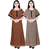 #8: Silver Organisation MultiColor Women's Long Cotton Nighty (Pack Of 2), Free Size (SON_027, Multicolour)