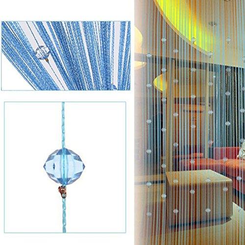 Fadenvorhang mit Kristallperlen, 1 m x 2 m, mit Quaste, Trennwand für Fenster, für Zuhause, Wohnzimmer, Schlafzimmer, Dekoration, blau, Free Size