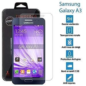 Samsung Galaxy A3 (NON 2016) - Véritable vitre de protection écran en Verre trempé ultra résistante
