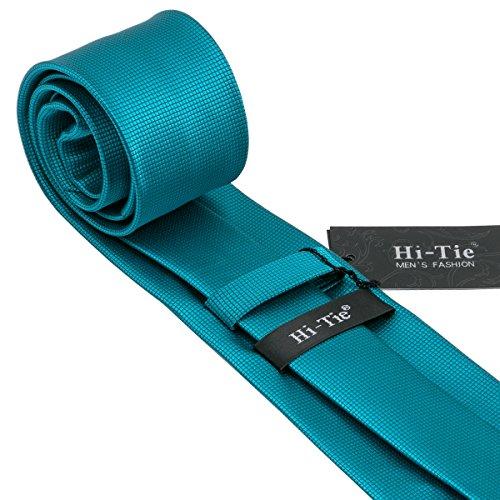 CAOFENVOO Cravate Hanky Cufflinks solides Jacquard en soie tissée cravate de soirée de mariage une affaire d'hommes Bleu