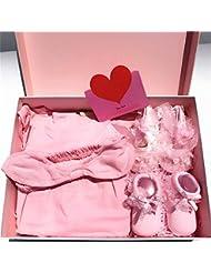 SHISHANG Baby Gift Set Caja de regalo Boy Girl Baby Gifts para 0-9 meses Newborn 100% algodón Cuatro Seasons Gift Bag Luna Llena Caja de regalo Blanco Rosa , B