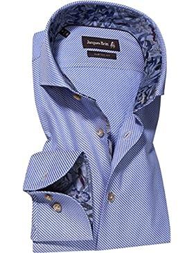 Jacques Britt Herren Hemd Baumwolle & Mix Oberhemd Gemustert, Größe: 39, Farbe: Blau