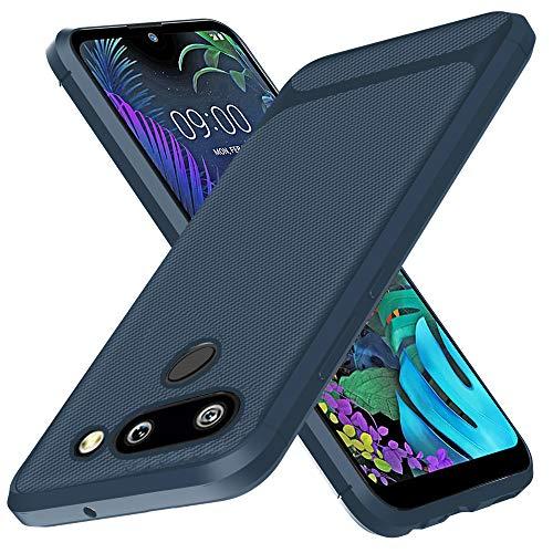 GoodcAcy Kompatibel mit LG K50 Hülle+ Panzerglas Schutzfolie, Flexibles Slim Case Bumper Weiche Handyhülle Silikon TPU Schale Kratzfest Kohlefaser Cover Carbon Optik(Blau)