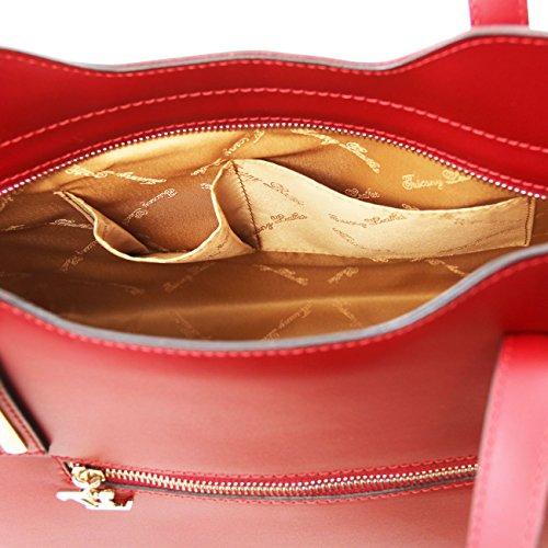 Tuscany Leather Olimpia Borsa shopper in pelle Nero Talpa chiaro