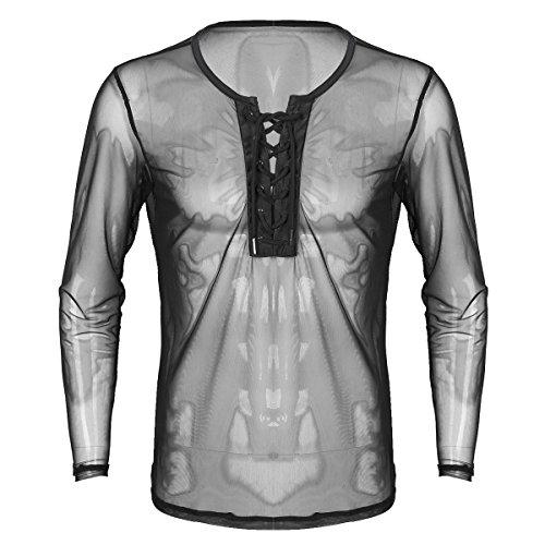 MSemis Camiseta de Malla para Hombre Blusa Transparente Cordón...