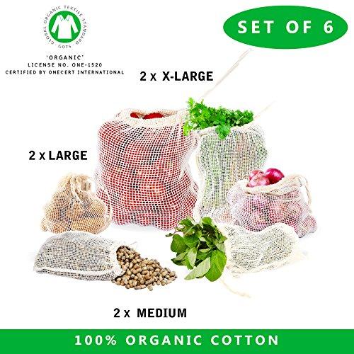 Producir Bolsa–Set de 7GOTS Certified Organic Algodón producir bolsas