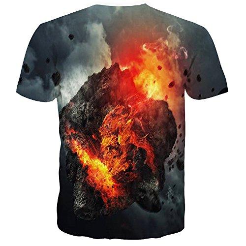 LAIDIPAS Unisex 3D Muster Gedruckte Beiläufige Kurze Hülsen-T-Shirts T-Stücke Grey