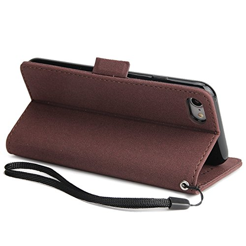 iPhone 6s Plus 5,5Zoll Schutzhülle,iPhone 6 Plus Leder Hülle,TOYYM Ultra Dünn Full Body Protection Flip Leder Wallet Brieftasche Case 3 in 1 Handytasche mit Stand Funktion Kartenfächer Magnetverschlus Braun,Traumfänger