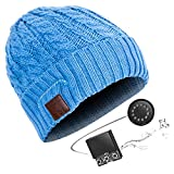 DECJ HD Stereo Bluetooth 4.2 Wireless Smart Beanie Headset Musical Knit Headphone Speaker Hat Speakerphone Cap, Mic,Blue