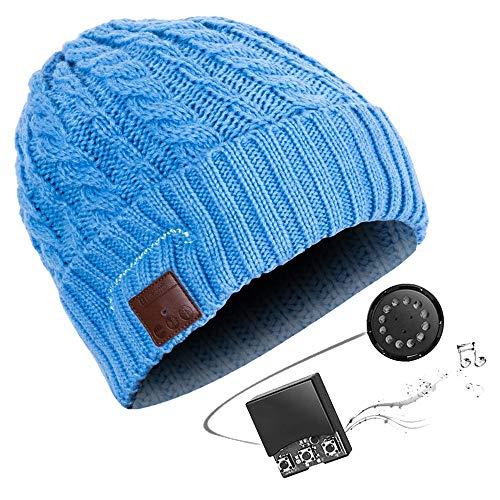 HK Bluetooth Beanie Mütze Waschbare Freizeit Bluetooth Baggy Hats Kopfhörer mit akustischem Stereolautsprecher und Freisprecher-Telefonbeantwortung und bis zu 8 Stunden Wiedergabezeit,Blue