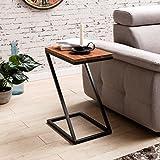 FineBuy Beistelltisch OLAKA Z-Form Massiv-Holz Sheesham/Metall 45 x 62 x 32 cm | Design Wohnzimmertisch Landhaus-Stil | Anstelltisch Ablagetisch Eckig