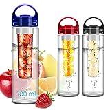 FunRun 700ml Frutta Acqua Bottiglia Infusioni Borraccia Infusore (Plastica Tritan Senza BPA) Perfetta per depurare l'organismo, per gli sport e per le attività all'aperto, Blu
