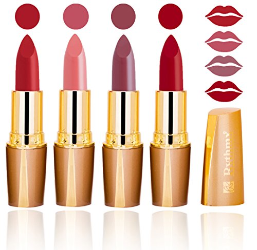 RythmX Royal Color Riche Creamy Matte Lipstick Combo (Brick Red, Mauve and Ruby Red)