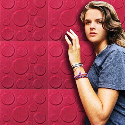 ttoos Ronamick Neue PE Foam 3D DIY Wandaufkleber Wand Dekor Geprägte Ziegelstein Wandtattoo Wandaufkleber Sticker Wanddeko (Rose rot) (Braun 3d Schmetterling Wand-dekor)