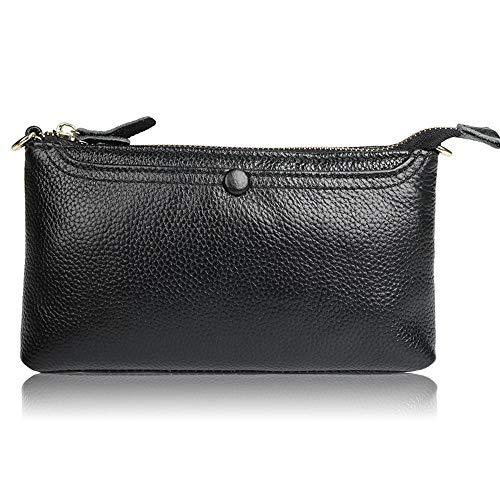 Relddd Damen-Geldbörse aus Leder, stilvolle Kies Leder-Geldbörse, schwarz -