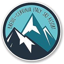 2 x 25cm/250 mm Breuil-Cervinia Italie ski Surf Resort Auto-adhésif Autocollant Vinyle Autocollant pour portable Assurance voiture signer Fun #6449