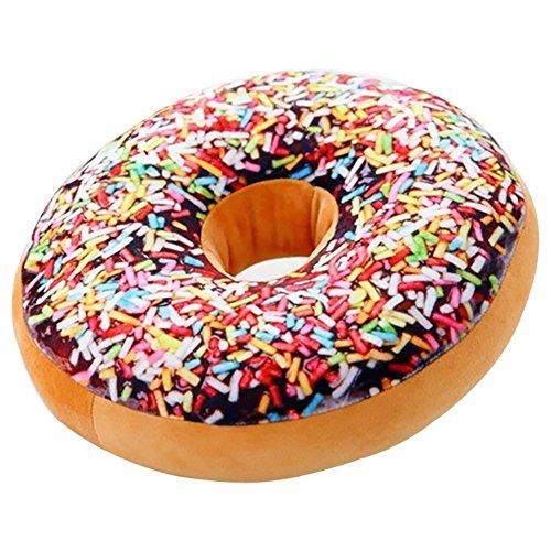 Gefülltes Kissen im Donut-Design, Plüsch, als Spielzeug-Puppe, Lehne für die Familie, Bürostuhl, Auto-Sitz geeignet, 40,6x 40,6cm Flower world (Decken Donut-sitzkissen,)