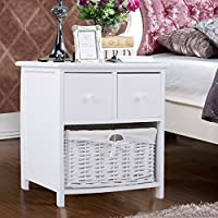 Tuff Concepts Panana 1pc White Wooden Shabby Chic Storage Bedside Units with Wicker Basket Cabinet (40 * 46.5 * 28CM)