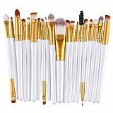 Hosaire 20 Pcs/set Makeup Brush Profi Beauty Make Up Gesicht Eyes Pinsel Foundation Berufsverfassungs Kosmetische Make-up Augen Bürste Set Augenpinsel (Weiss+Gold)
