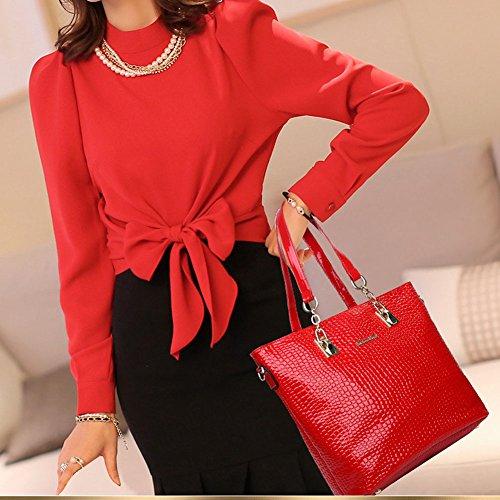 Leder Crossbody Schlüsselhalter Set Handtasche Tasche 6 Geldbörse Satchel Boston Handtasche Handy Rot Damen teiliges PU Geldbörse daSXUU