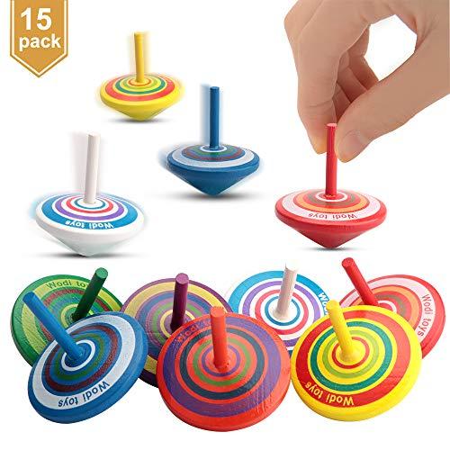 Eyscoco 15 Stück Kreisel aus Holz,Holzkreisel,Spielzeugkreisel,Spielzeugkreisel Kinder,Farbmischung (Farbmischung)