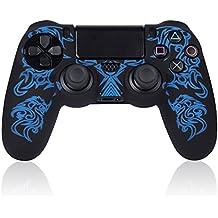 TurnRaise Funda Silicona Protectora para Mando Consola de PS4 ,Funda para PS4 Controlador (Azul)
