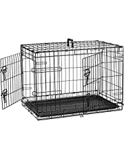 AmazonBasics Double Door Folding Metal Dog Cage with Paw Protector