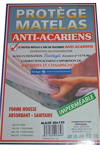 Mit Sanitized Matratzenschoner Frottee–Wasserdicht–Milben–anti-champignon–Zertifizierung europäischen–aleze–120* 60cm