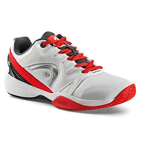 HEAD Nzzzo Junior, Chaussures de Tennis Mixte Enfant Blanc (White/red)