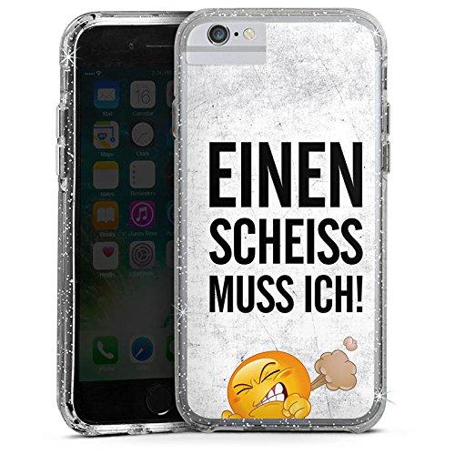 Apple iPhone X Bumper Hülle Bumper Case Glitzer Hülle Funny Lustig Sprüche Bumper Case Glitzer silber