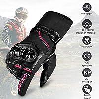 Guantes de Moto Invierno, CARCHET Guantes Impermeable de Pantalla Táctil Dedo Completo Anti-Viento para Motocicleta Excursión Bici Ciclismo Deporte Talla L