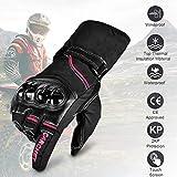 Guantes de Moto Invierno, CARCHET Guantes Impermeable de Pantalla Táctil Dedo Completo Anti-Viento para Motocicleta Excursión Bici Ciclismo Deporte Talla XL