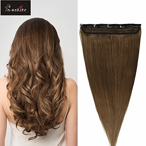 55cm extension clip capelli veri umani 1pz 5 clips aaaaa remy human hair allungamento parrucca castano