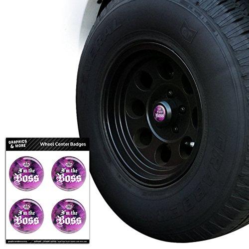 Tire-caps Krone (Graphics and More I 'm the Boss mit Krone Reifen Rad Center Gap resin-topped Abzeichen Aufkleber–7,6cm (Gorarastein) Durchmesser)