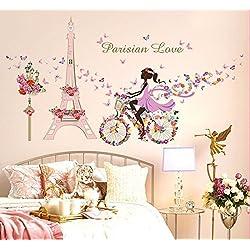 Zooarts extraíble de flores hada mariposas pared adhesivos adhesivo para las niñas habitación de niño