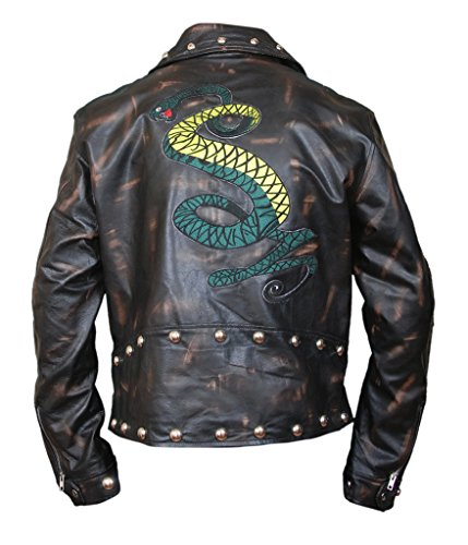 F&H Men's Fallout Tunnel Snakes Rule Genuine Cowhide Leather Jacket brown